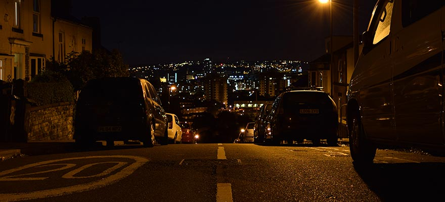 Sheffield by night. I took this picture on a very steep street near to my house.
