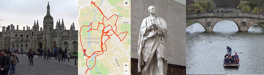 Here you can see the famous King's College, my GPS tracked route, a statue of Isaac Newton and a punt on the Cam.