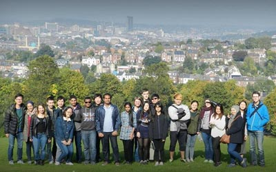 Our group of students in front of the most beautiful view of Sheffield.