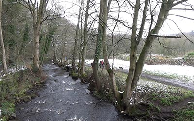 Here you can see the river Rivelin, which is quite near to where I live at the moment. There's also some snow on the right!